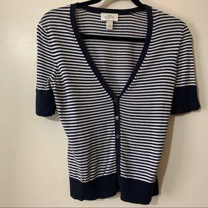 Loft Navy/ White Striped Short Sleeve Cardigan